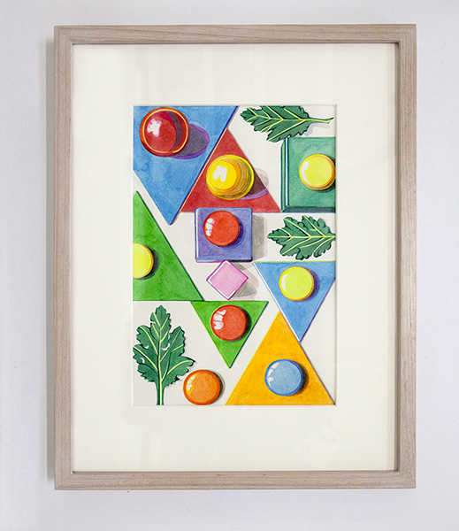 kidd_2014_Leaves,-billiard-balls-and-triangles_watercolour-on-paper_-27-x-18cm_framed-41-x-32cm-.jpg