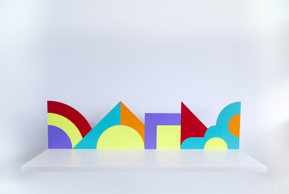 Shelf with abstract shapes #2