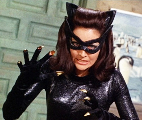 Julie Newmar at Catwoman in the 1960's Batman TV show