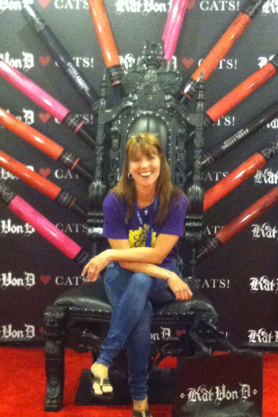 Our own Patti at the Throne of Lipstick at Kat Von D's mega-booth