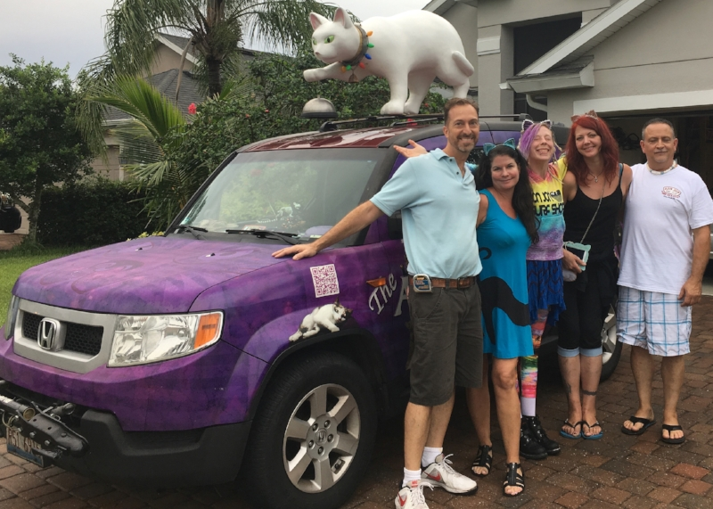 Me with the Acro-cats crew in front of the Tuna-mobile