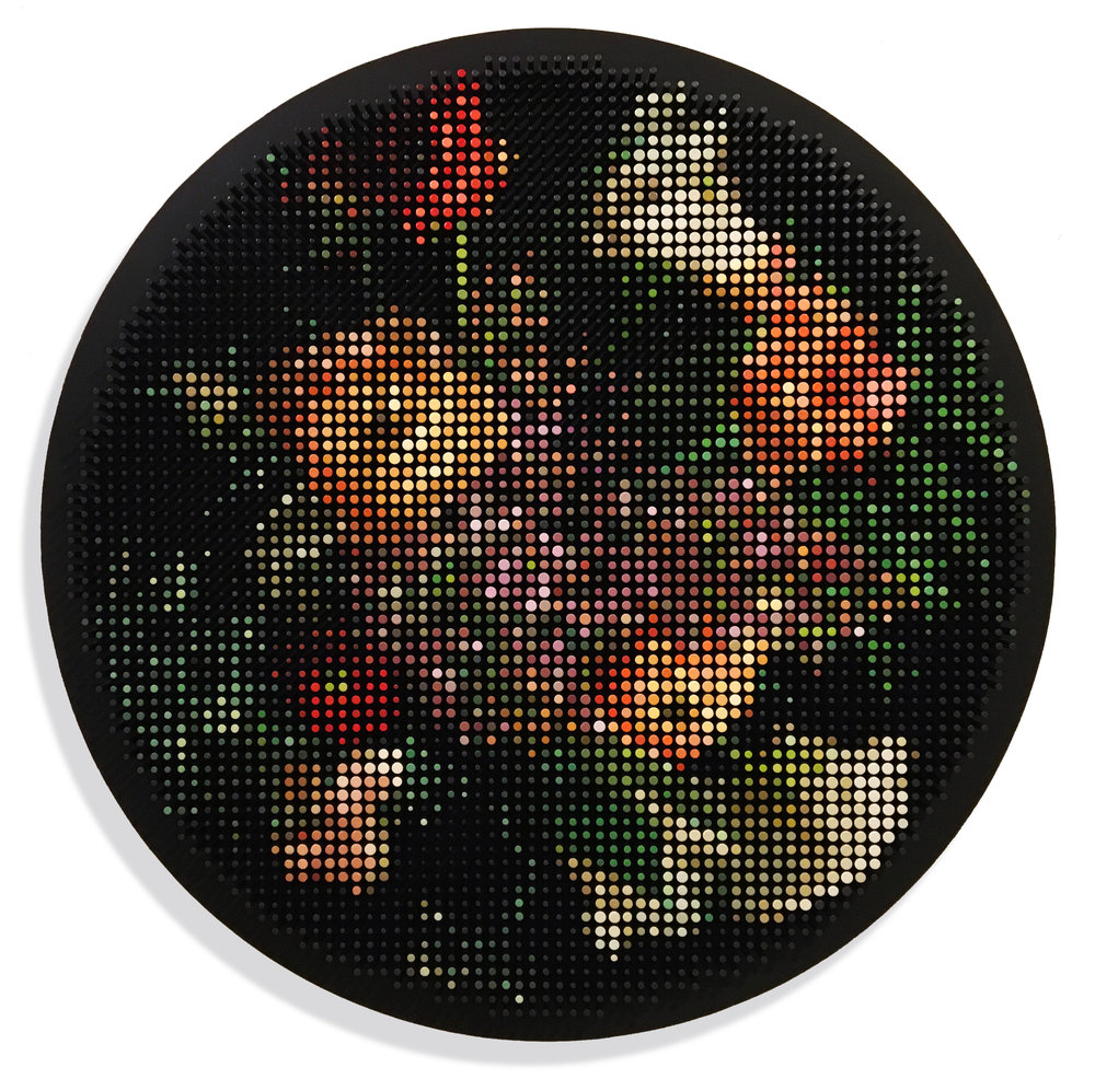 Flowers in a black circle