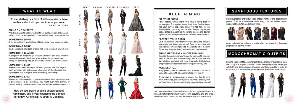 Style Guide MIYA 2019 - what to wear for photosession