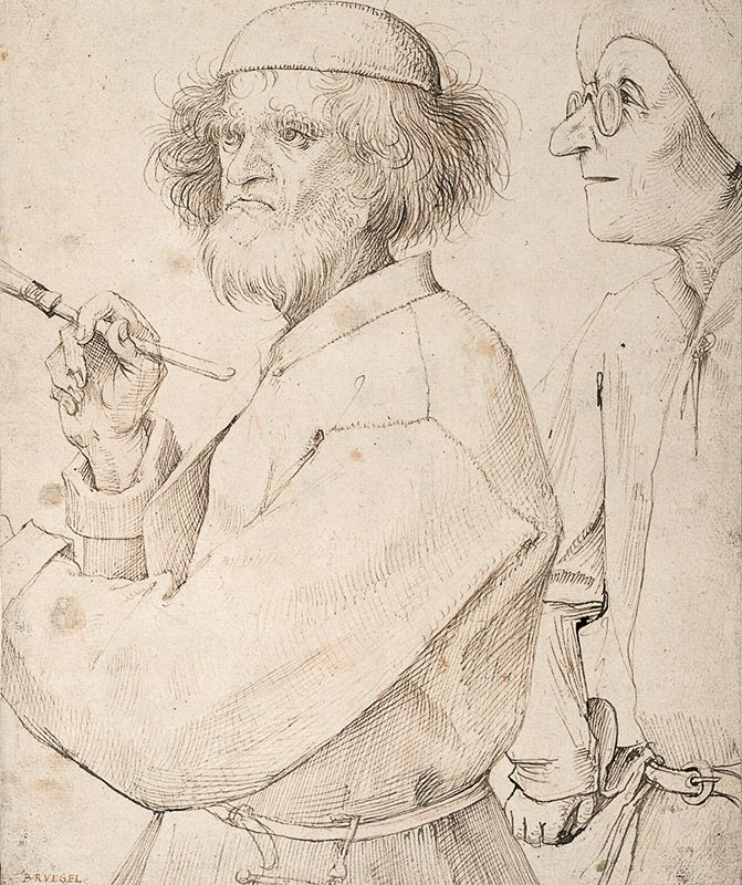 The Painter and the Connoisseur, pen and brown ink, 10 x 8 1/2 by Pieter Bruegel (1525 - 1569)