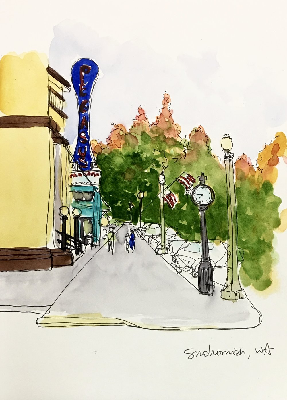My sketch of downtown Snohomish