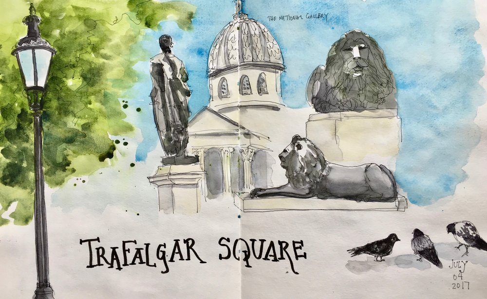 For our first sketchbook field trip, we went to Trafalgar Square and took in London.