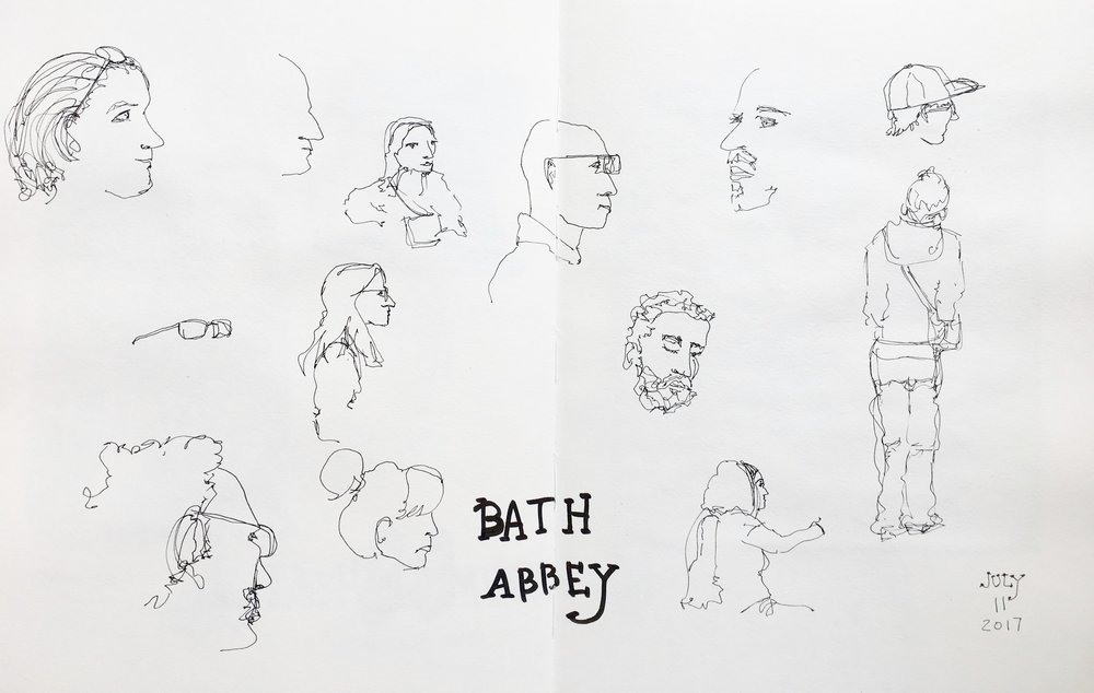 I ducked into the Abbey to get out of the rain for about an hour and sketched the other tourists.
