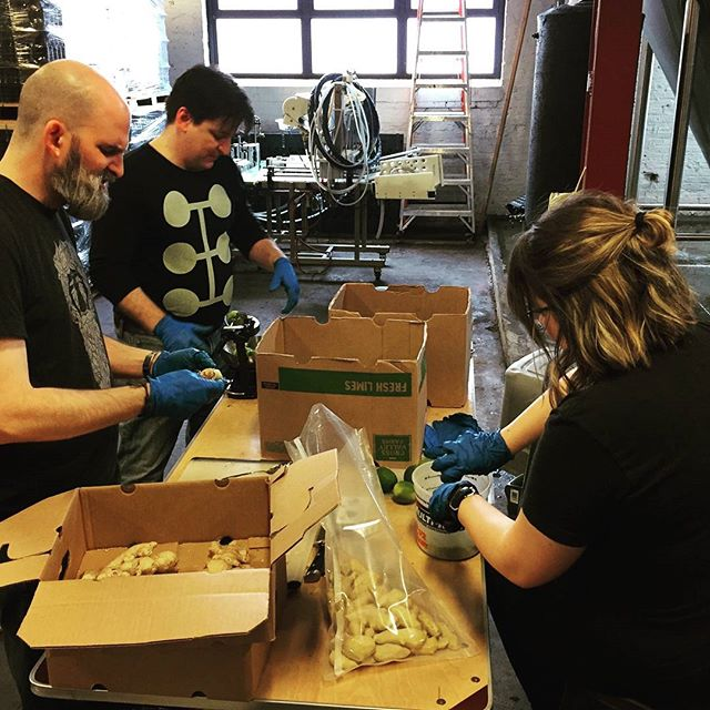 Our friendly neighbors came by to help zest limes and peel ginger for our Gamma-Ray Ginger Wheat Ale! Who's excited for the return of this beer? #empiricalbrewery #chicago #craftbeer #gamma #ginger