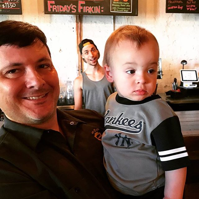 The boss, the future boss, and a photobomb from @rabblerouser_  We love our Empirical family 🍺👪💛 #empiricalbrewery #chicago #craftbeer #family #photobomb