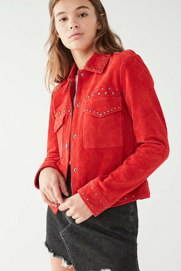 Urban Outfitter's Bagatelle Studded Suede Trucker Jacket, $199
