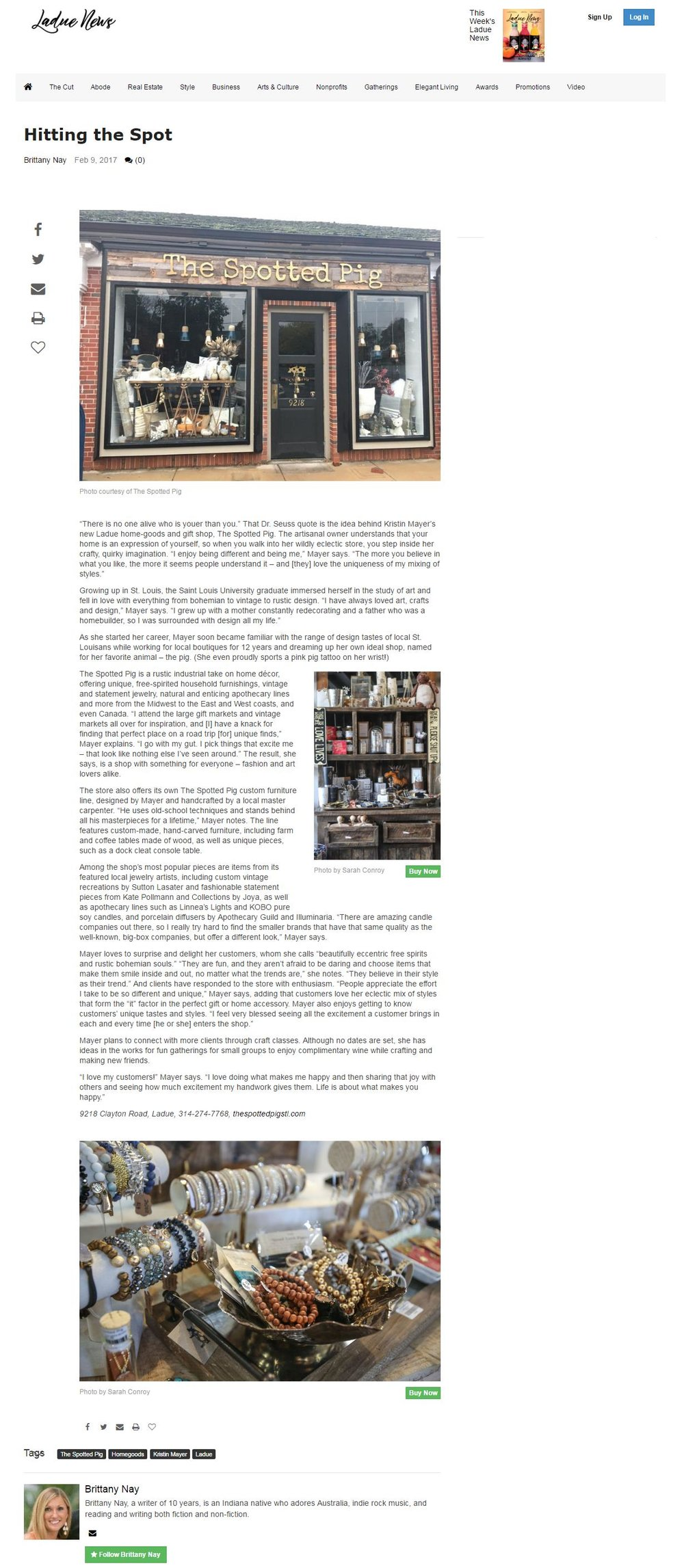 Ladue News Feature on Stockist: The Spotted Pig