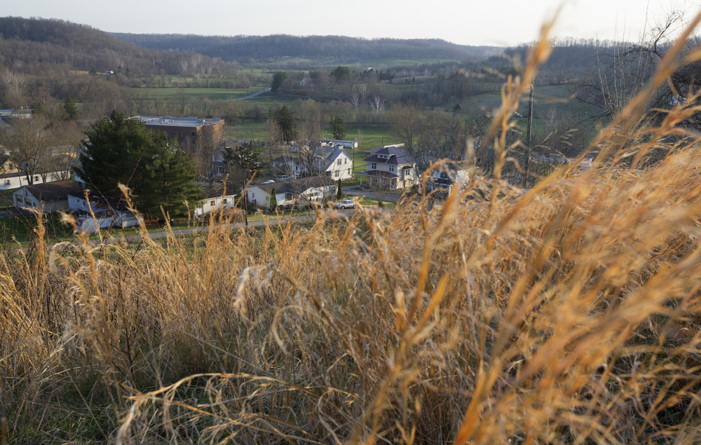 A hill on Ward Starlin's property overlooks the village of Amesville.