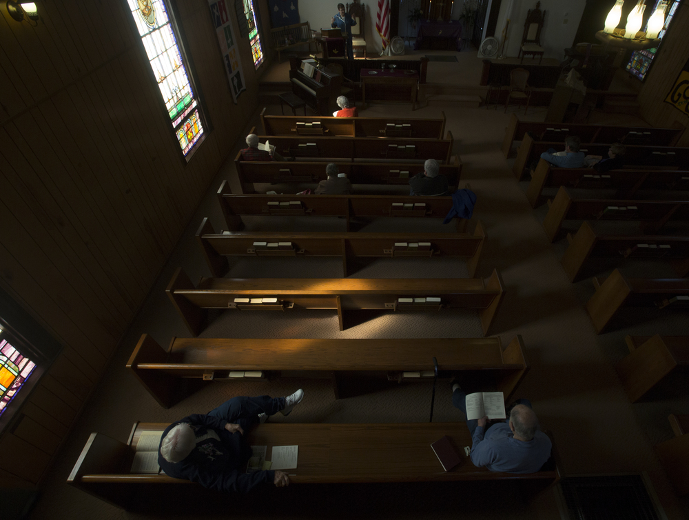 Carrie Ator-James leads a Sunday sermon at Amesville Presbyterian Church.