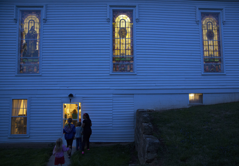 Following an egg hunt, children return to the Amesville Presbyterian Church for the parish lock-in.