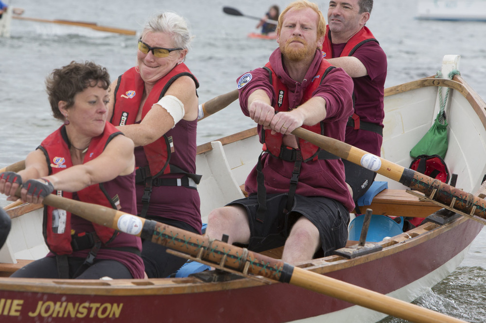 Boatie Blest rowers from Cockenzie and Port Seton, Lucy Hyde, Linda Gunn, Dave Bathgate and Jon Gerrard row compete in the long race of the Sail and Oar event on Cumbrae.