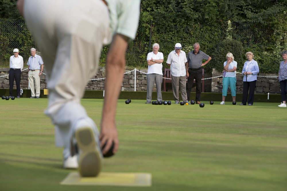 Peter Brodie bowls during a casual game at Blackhall Bowling Club in Edinburgh, Scotland.