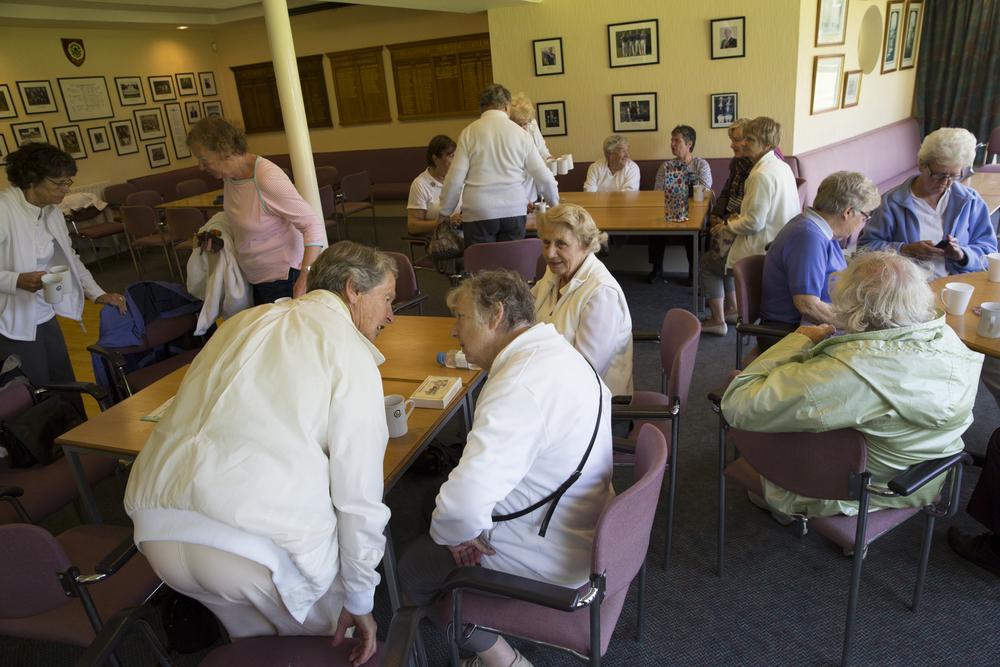 Ladies gather for tea after a game of lawn bowling at Blackhall Bowling Club.