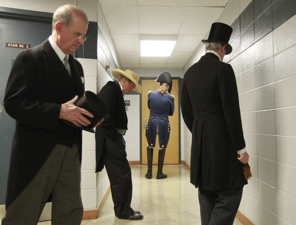 "From left, Bill Young, portraying President Woodrow Wilson, Stephen Moore, portraying President Zachary Taylor, Frank Margargee, portraying President William Henry Harrison, and Richard Cheatham, portraying President John Tyler pace outside room 402 in Wilson Hall before taking on their characters Wednesday, Oct. 10, 2012. The University of Virginia Center for Politics highlighted Virginia as the ""Mother of Presidents"" with actors speaking as eight presidents from Virginia. Copyright: The Daily Progress"