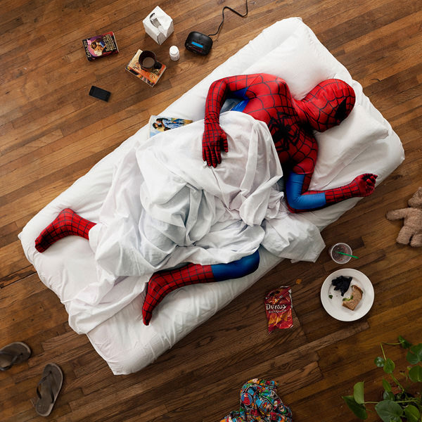 Spiderman sleeping