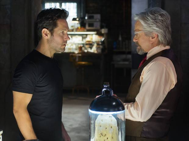Scott Lang (Paul Rudd) and Hank Pym (Michael Douglas)
