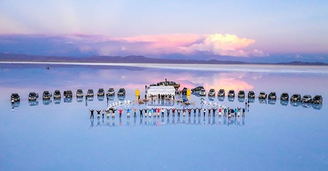 An epic evening on the #saltflats in #bolivia @aktravel_usa