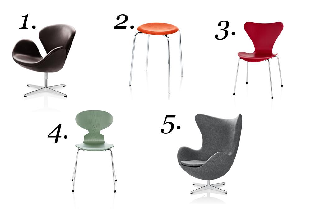 1. Swan chair 2. Dot chair 3. Series 7 4. Ant chair 5. Egg chair