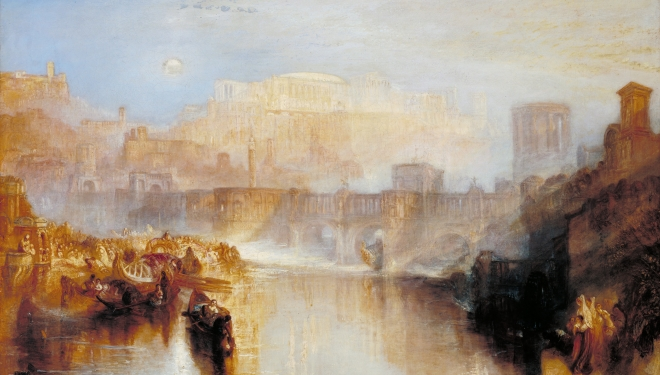 JMW Turner, Ancient Rome; Agrippina Landing with the Ashes of Germanicus exhibited 1839, Oil pain on canvas, Tate. Accepted by the nation as part of the Turner Bequest, 1859. Image  retrieved  on 31/12/15, courtesy of culturewhisper.com