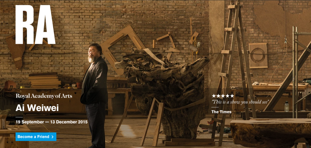 Screenshot of the RA's  Landing Page  for the Ai Wei Wei Exhibition, retrieved 31/12/15