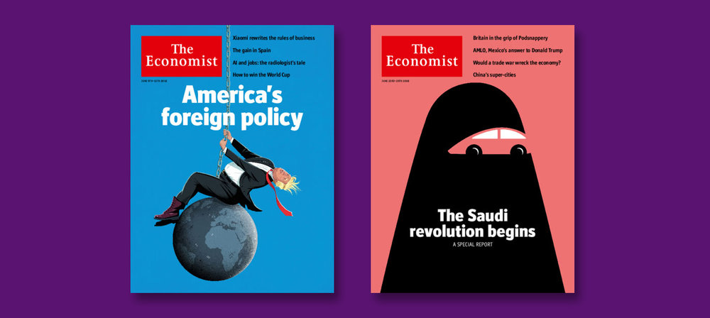 Covers for the Economist , 9th June 2018, UK Edition (L) 23rd June 2018 UK Edition (R)
