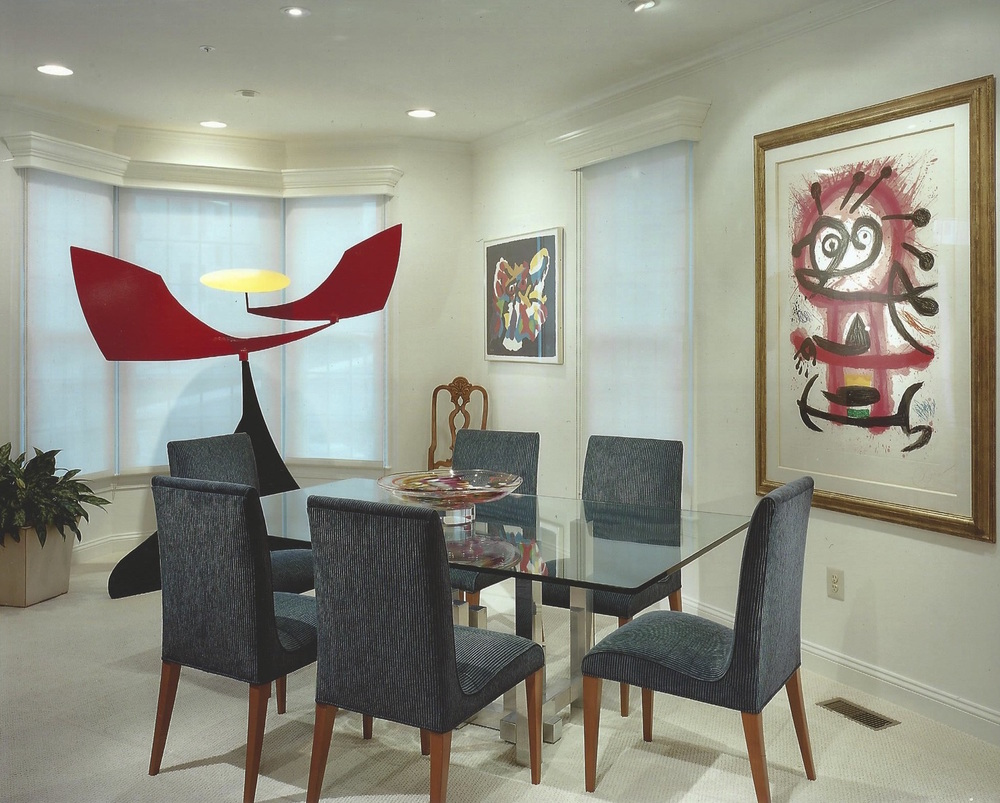 Dining Room with Paul Evans dining table and art collection