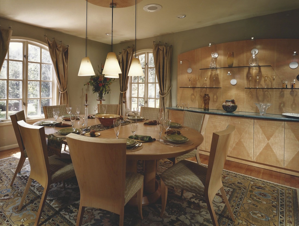 Custom designed dining room furnishings for suburban Philadelphia