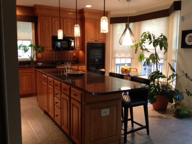 Kitchen Island with a plant