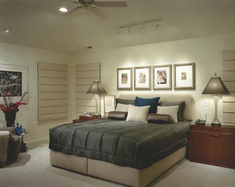 Master bedroom with winter bedspread