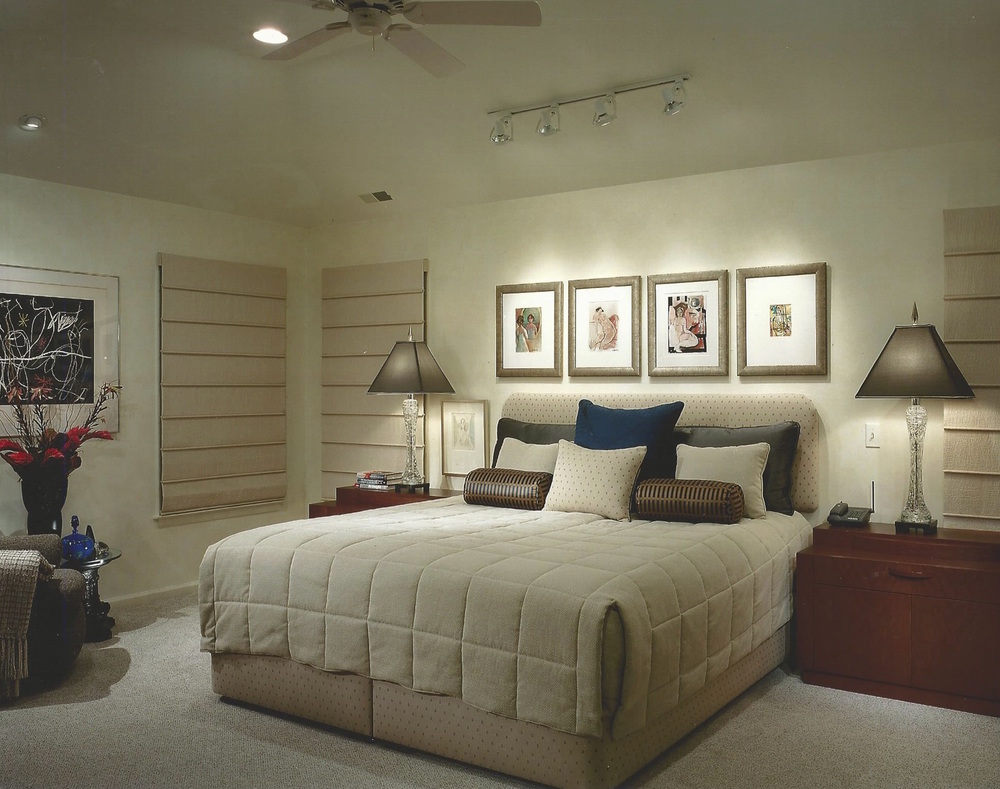 Master bedroom with a summer bedspread