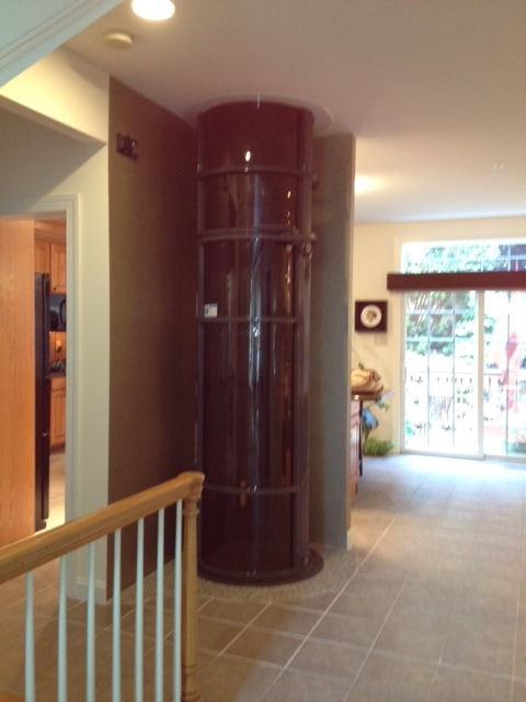 Elevator installed in the living room so that senior residents could stay  in their home