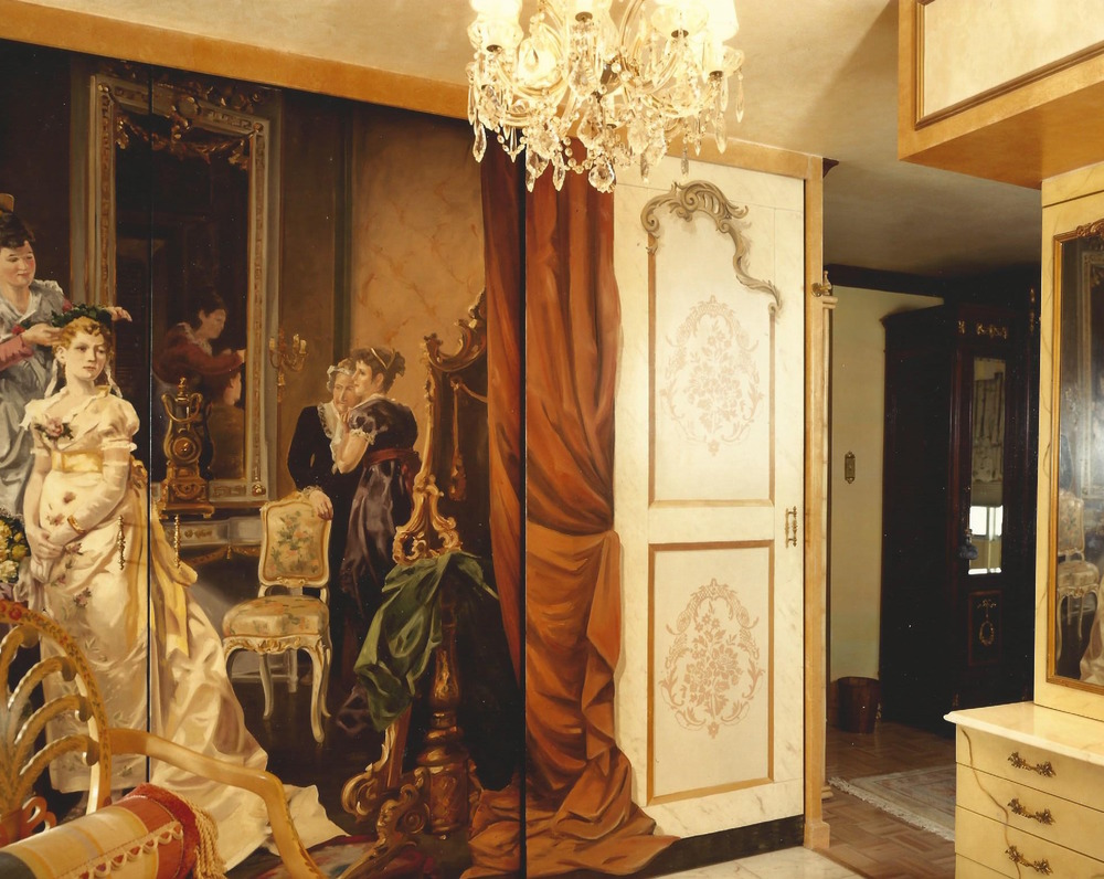 French dressing room with hand painted doors