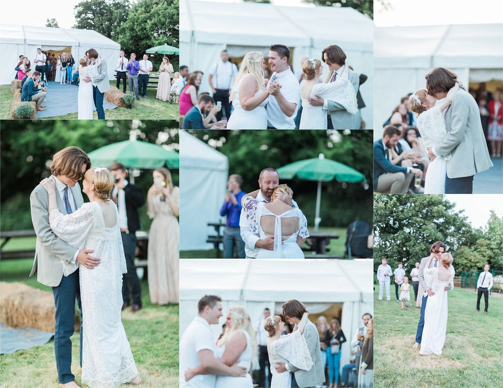 The first dance was both beautiful and emotional for both the couple and the family, with the barefoot bride and groom choosing to take to the grass outside over the dance floor.
