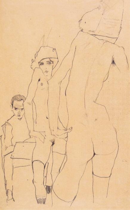 1. Self Portrait Drawing a Nude Model in Front of a Mirror