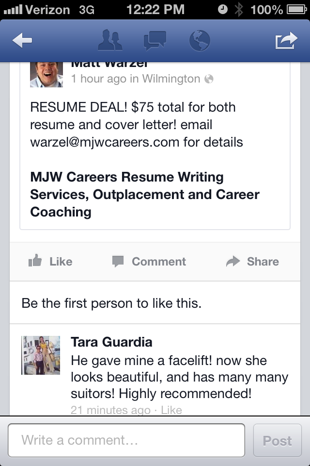 A nice   facebook     testimonial   for our   resume   writing business! Come get yours made over today!       RESUME     DEAL  ! $75 total for both resume and   coverletter  ! email warzel@mjwcareers.com for details!