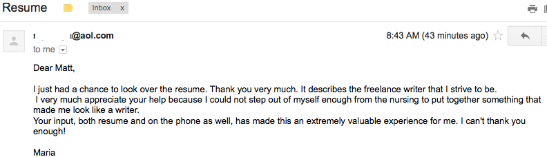 Nice client testimonial in my inbox today! If you need a consultation and resume, contact us today! $75 resumes and includes free cover letter warzel@mjwcareers.com