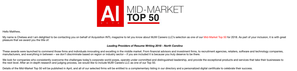 mjw careers recognized in the top 50 of all north carolina resume