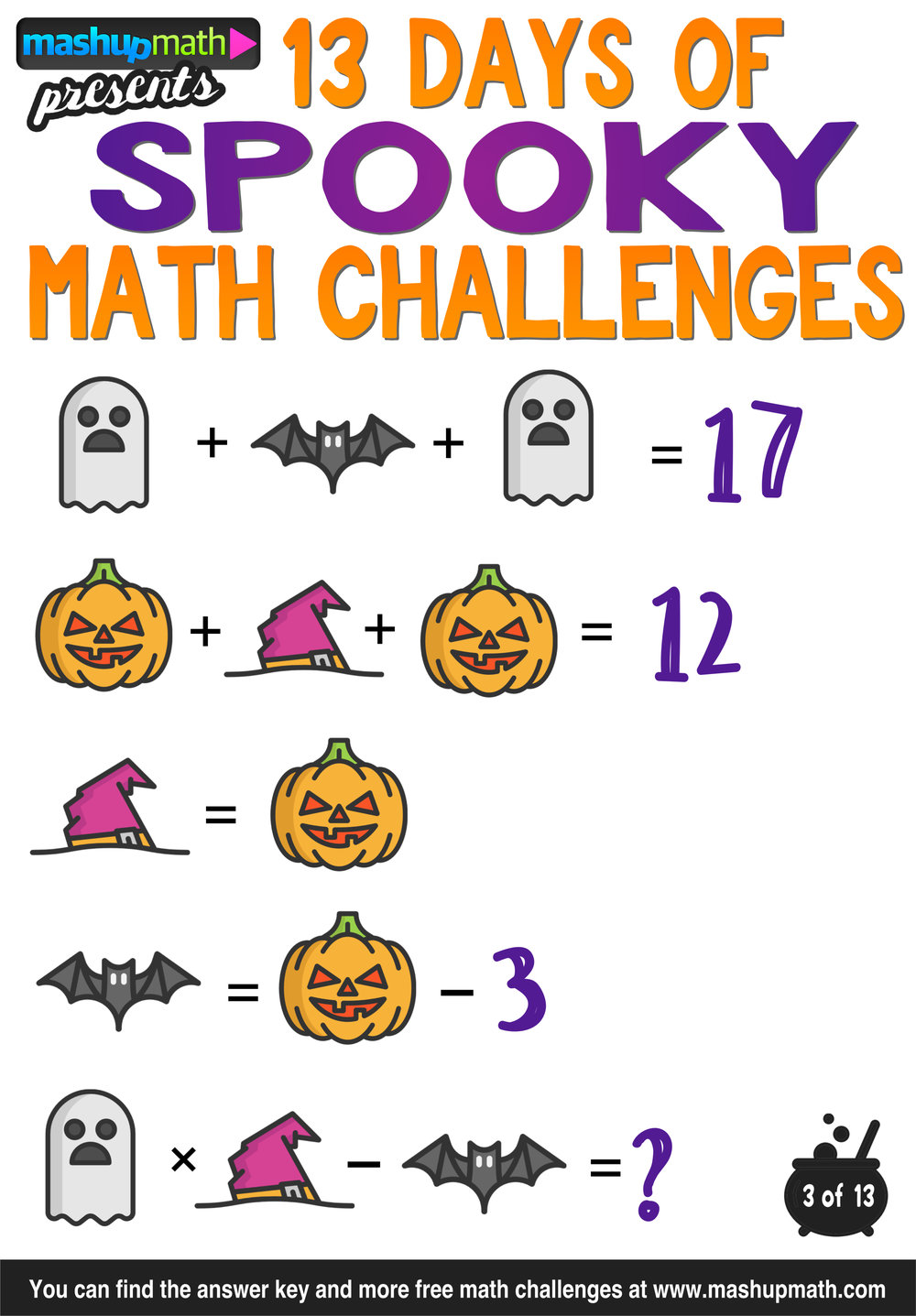 Are Your Kids Ready for 13 Days of Spooky Math Challenges ...