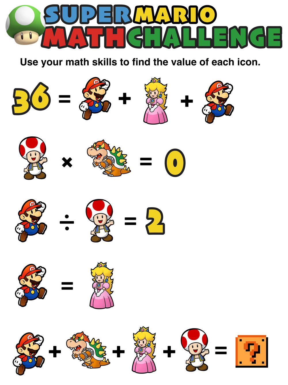 Workbooks super mario math worksheets : Have You Seen These Free Super Mario Math Puzzles? — Mashup Math