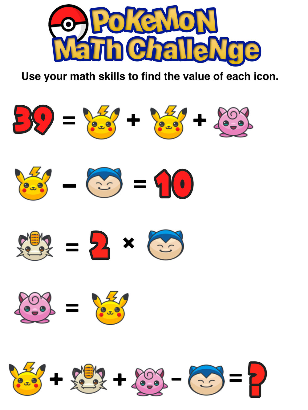 Have You Seen These Free Pokmon Math Puzzles Mashup Math