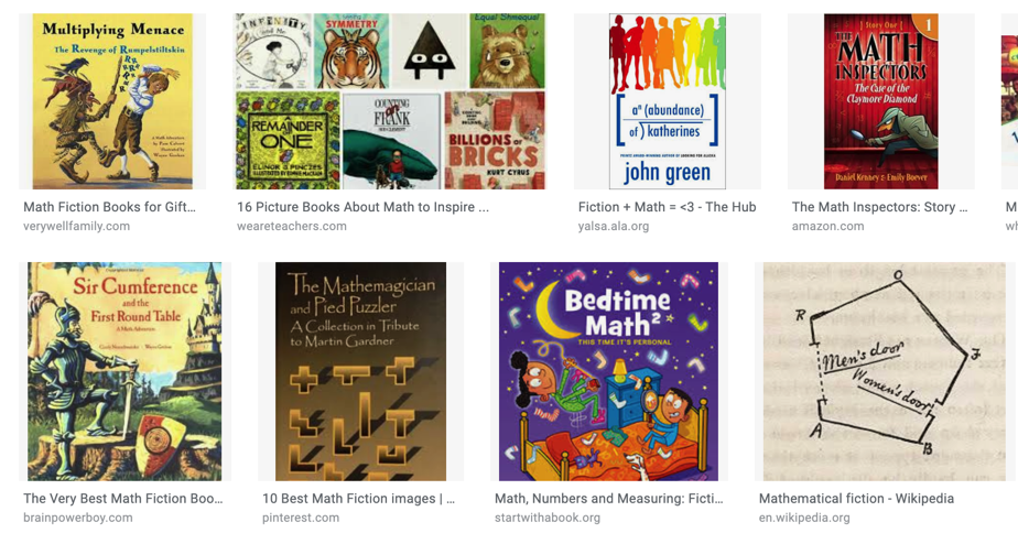 There are tons of excellent math-fiction books available for students of all grade levels.