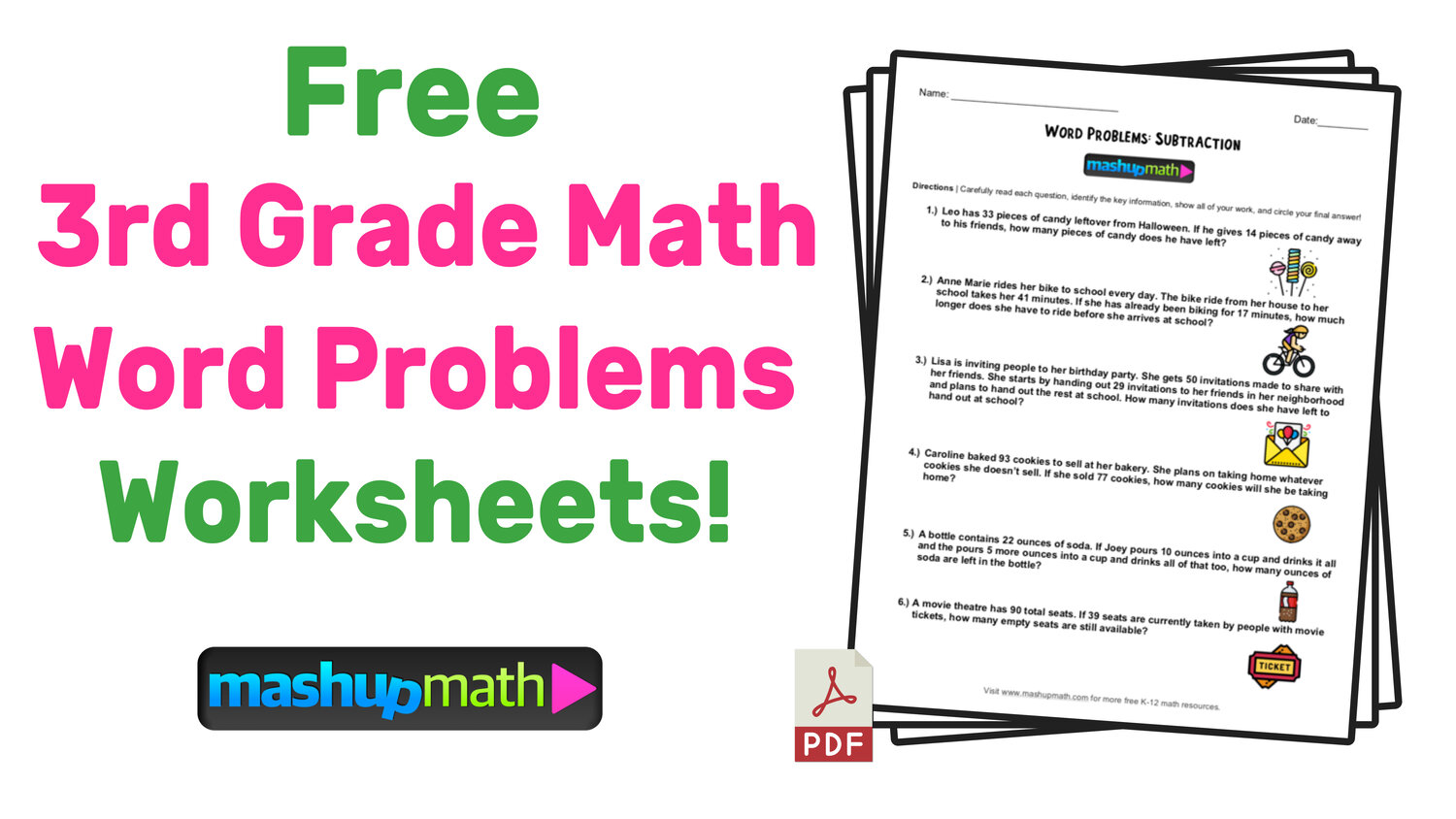 3rd Grade Math Word Problems Free Worksheets With Answers Mashup Math