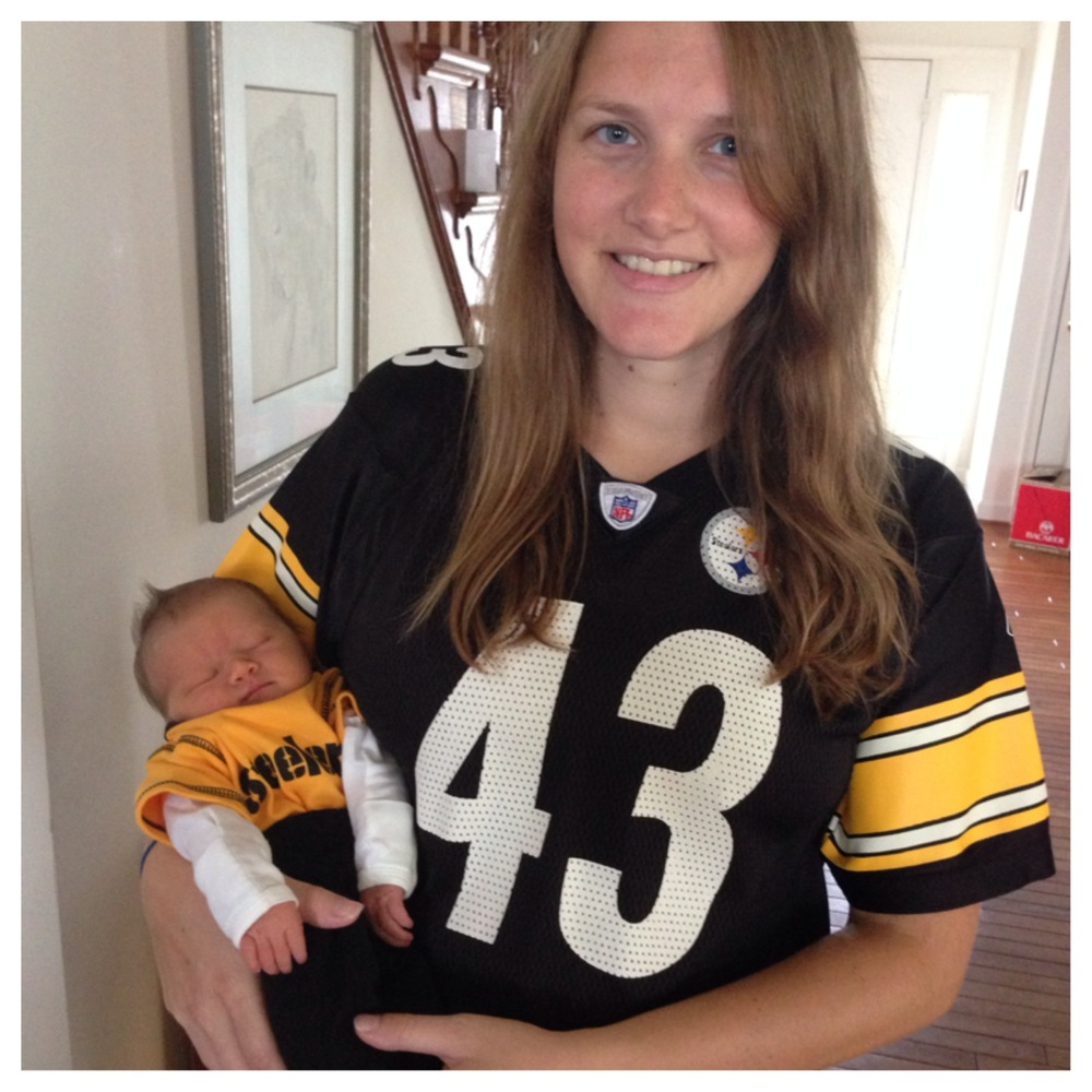 Mom and Baby G reppin' Steeler Nation.