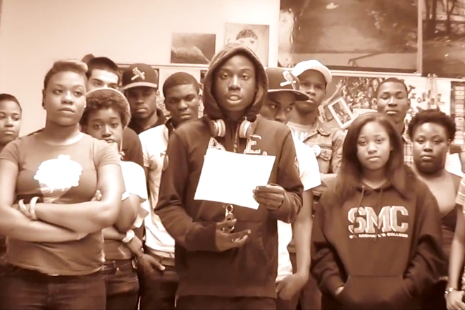 Paul Robeson HS students call for a citywide student walkout in April, 2012, led by Akeem Pierce