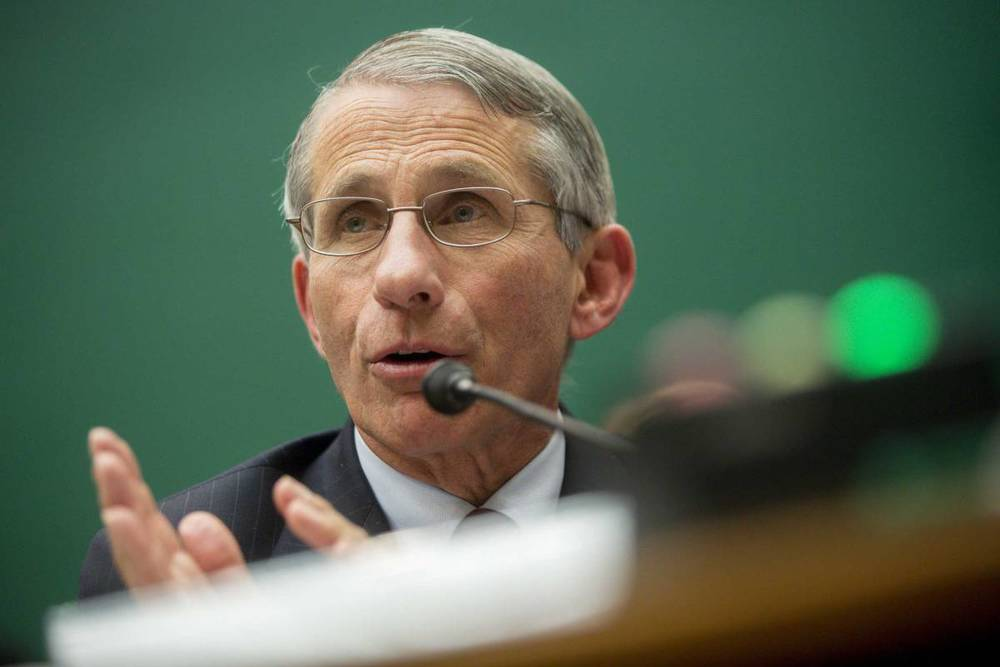 Anthony Fauci, director of the National Institute of Allergy and Infectious Diseases, speaks during a House Energy and Commerce Committee subcommittee hearing on the U.S. public health response to the Ebola outbreak in Washington, D.C., Oct. 2014.Andrew Harrer—Bloomberg/Getty Images