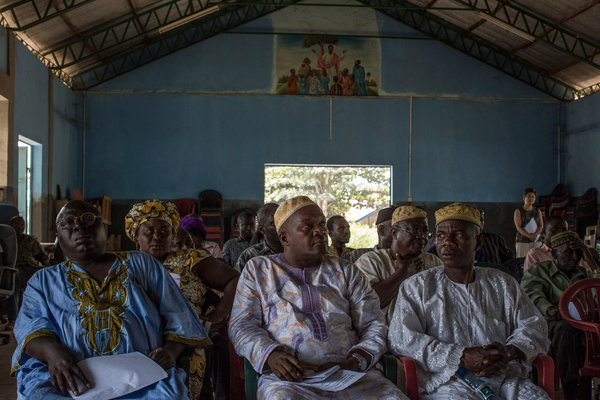 Tribal chiefs and community leaders in Marampa, Sierra Leone, learned about an Ebola vaccine study at a meeting last month. CreditBryan Denton for The New York Times